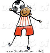 Vector Clipart of a Doodled Black Boy Playing Soccer by Prawny