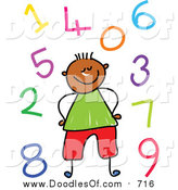 Vector Clipart of a Doodled Black Boy Surrounded by Colorful Numbers by Prawny