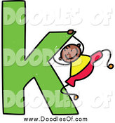 Vector Clipart of a Doodled Black Boy Swinging on a Lowercase Letter K by Prawny