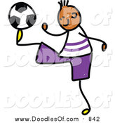 Vector Clipart of a Doodled Black Soccer Boy Kicking by Prawny