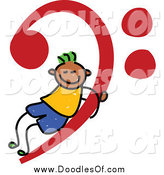 Vector Clipart of a Doodled Black Stick Boy on a Red Music Base Clef by Prawny