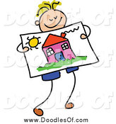 Vector Clipart of a Doodled Blond Boy Holding a Picture of a House by Prawny