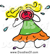 June 12nd, 2014: Vector Clipart of a Doodled Blond Girl Crying and Throwing a Tantrum by Prawny