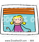 Vector Clipart of a Doodled Blond Girl Looking out a Window by Prawny