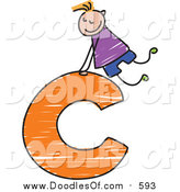 Vector Clipart of a Doodled Blond Haired White Boy on a Lowercase Letter C by Prawny