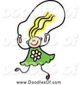 Vector Clipart of a Doodled Blond Haired White Girl Skipping Rope by Prawny