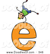 Vector Clipart of a Doodled Blond White Boy Cartwheeling on a Lowercase Letter E by Prawny