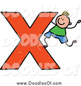 Vector Clipart of a Doodled Blond White Boy Climbing on a Capital Letter X by Prawny