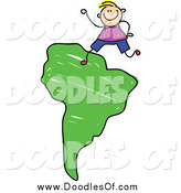 Vector Clipart of a Doodled Blond White Boy on a Green South Africa Map by Prawny