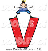 Vector Clipart of a Doodled Blond White Boy on a Lowercase Letter V by Prawny
