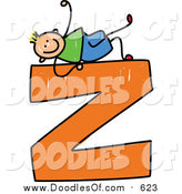 Vector Clipart of a Doodled Blond White Boy on a Lowercase Letter Z by Prawny