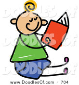 Vector Clipart of a Doodled Blond White Boy Sitting and Reading by Prawny