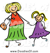 Vector Clipart of a Doodled Blond White Mother Holding Hand with Her Blond Daughter by Prawny