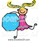 Vector Clipart of a Doodled Blond White Stick Girl Holding an Octagon by Prawny