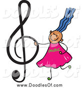 Vector Clipart of a Doodled Blue Haired Music Girl Holding a Treble Clef by Prawny