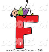 Vector Clipart of a Doodled Blue Haired White Boy Kicking Back on a Capital Letter F by Prawny