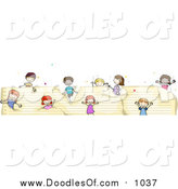 Vector Clipart of a Doodled Border of Kids on Ruled Paper by BNP Design Studio