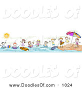 Vector Clipart of a Doodled Border of Summer Doodled Kids at the Beach by BNP Design Studio
