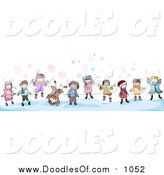 Vector Clipart of a Doodled Border of Winter Kids by BNP Design Studio
