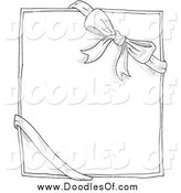 Vector Clipart of a Doodled Bow and Ribbon Around a Box or Paper by Yayayoyo