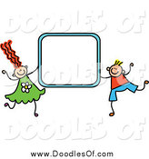 Vector Clipart of a Doodled Boy and Girl Holding a Blue Sign Frame by Prawny