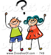 Vector Clipart of a Doodled Boy and Girl with a Question by Prawny