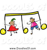 Vector Clipart of a Doodled Boy and Girl with a Yellow Music Note by Prawny