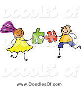 Vector Clipart of a Doodled Boy and Girl with Puzzle Pieces by Prawny