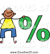 Vector Clipart of a Doodled Boy by a Percentage Symbol by Prawny