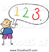Vector Clipart of a Doodled Boy Counting out Loud by Prawny