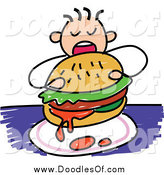 Vector Clipart of a Doodled Boy Eating a Messy Burger by Prawny
