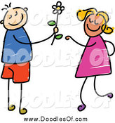August 14th, 2014: Vector Clipart of a Doodled Boy Giving a Daisy to a Girl by Prawny