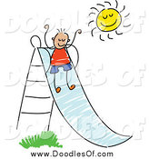 Vector Clipart of a Doodled Boy Going down a Slide by Prawny