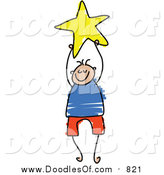 Vector Clipart of a Doodled Boy Holding a Yellow Star by Prawny