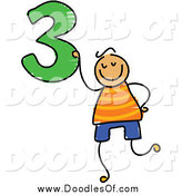 Vector Clipart of a Doodled Boy Holding the Number 3 by Prawny