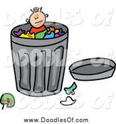 Vector Clipart of a Doodled Boy in a Trash Can by Prawny