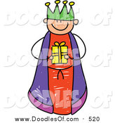 Vector Clipart of a Doodled Boy King Holding a Gift by Prawny