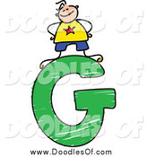 Vector Clipart of a Doodled Boy on a Capital Letter G by Prawny