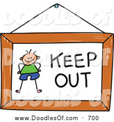 Vector Clipart of a Doodled Boy on a Keep out Sign by Prawny