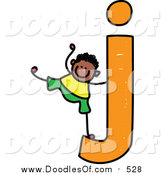 Vector Clipart of a Doodled Boy on a Lowercase Letter J by Prawny