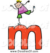 Vector Clipart of a Doodled Boy on a Lowercase Letter M by Prawny