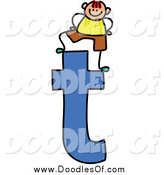 Vector Clipart of a Doodled Boy on a Lowercase Letter T by Prawny