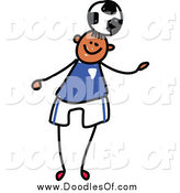 Vector Clipart of a Doodled Boy Playing Soccer by Prawny