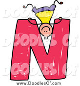Vector Clipart of a Doodled Boy Playing Upside down on a Capital Letter N by Prawny