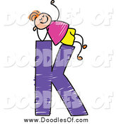 Vector Clipart of a Doodled Boy Relaxing on Capital Letter K by Prawny