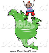 Vector Clipart of a Doodled Boy Standing on a Map of North America by Prawny