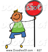 Vector Clipart of a Doodled Boy Standing with a Stop Sign by Prawny