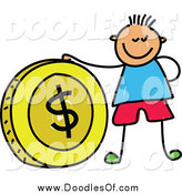 Vector Clipart of a Doodled Boy with a Big Dollar Coin by Prawny