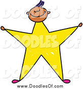 Vector Clipart of a Doodled Boy with a Yellow Star Body by Prawny