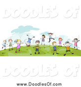 Vector Clipart of a Doodled Children Playing on a Hill by BNP Design Studio